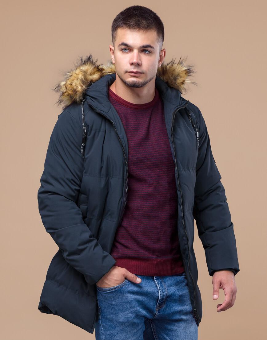 Темно-синяя куртка молодежная оригинальная модель 25270 фото 1
