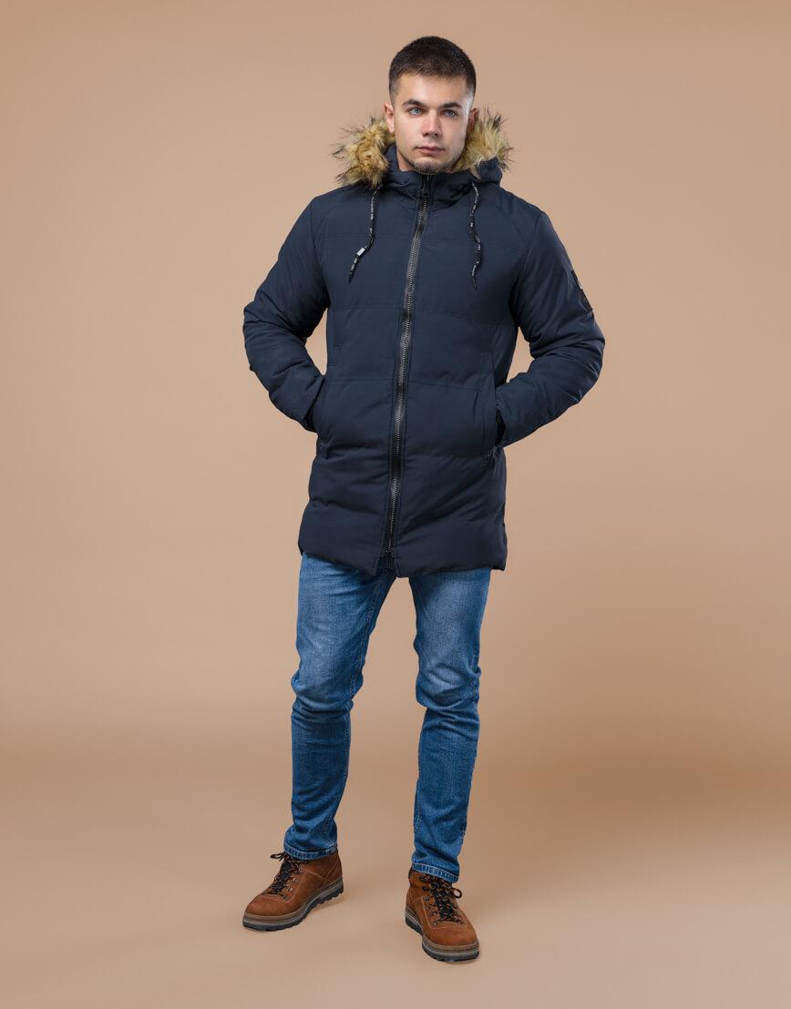 Темно-синяя куртка молодежная оригинальная модель 25270 фото 2