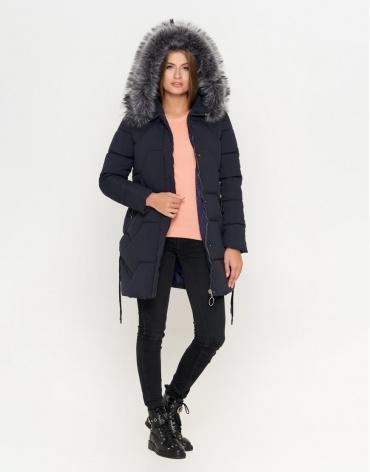 Куртка с опушкой женская цвет синий модель 6372