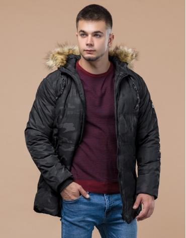 Черная дизайнерская куртка качественная молодежная модель 25350 фото 1