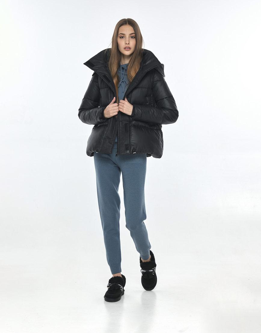 Куртка короткая чёрная женская Vivacana трендовая 9742/21 фото 2