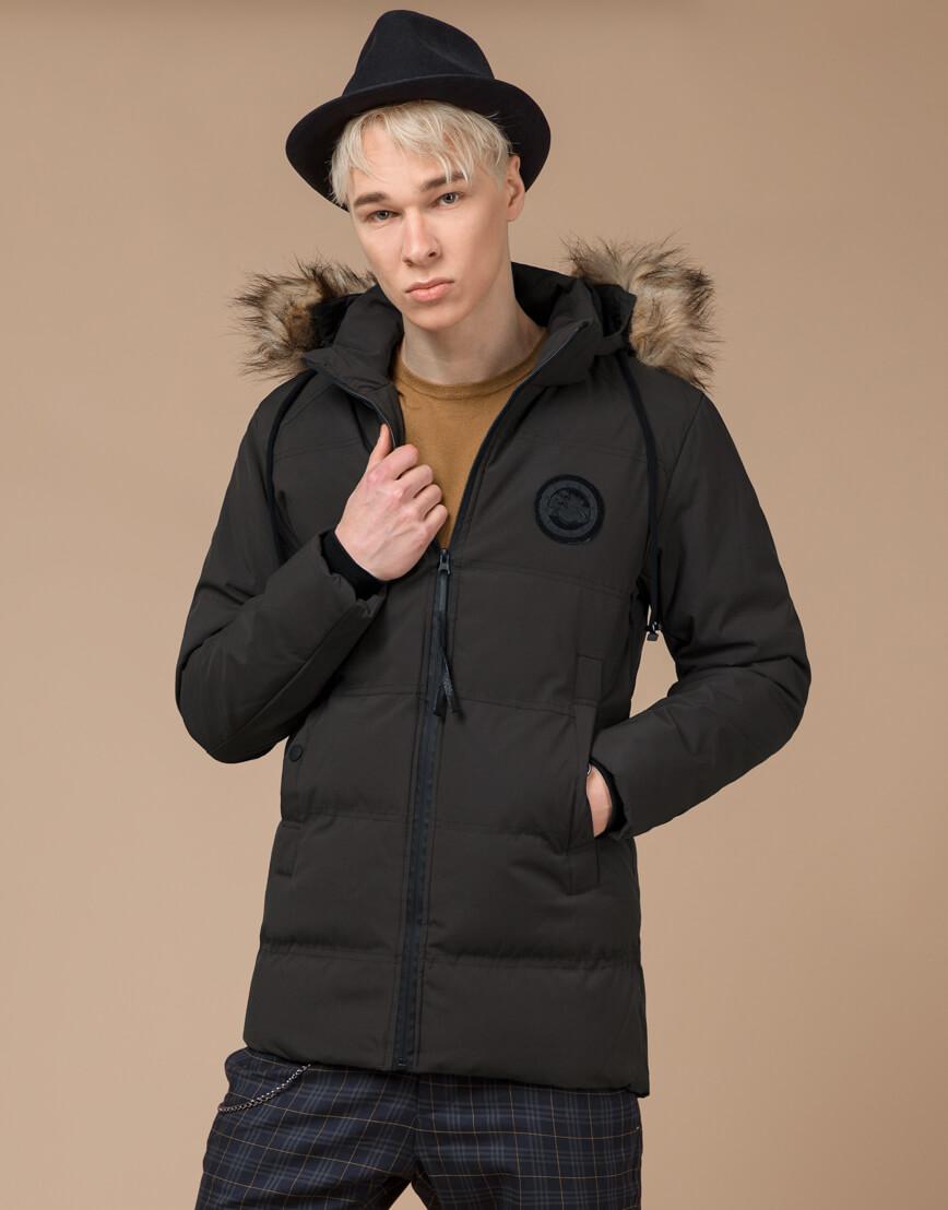 Куртка зимняя цвета кофе теплая модель 25550