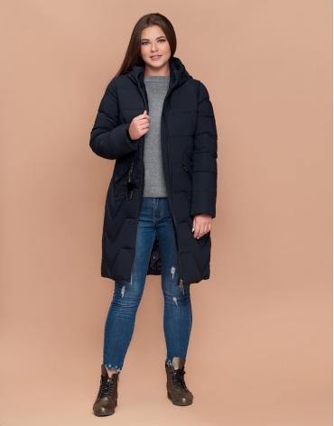 Куртка женская большого размера темно-синяя модель 25525