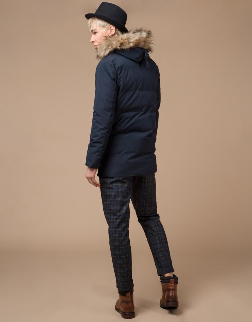 Синяя куртка зимняя удобного фасона модель 25550 фото 4