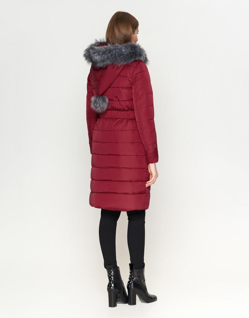 Трендовая женская куртка бордовая модель 8606 фото 4