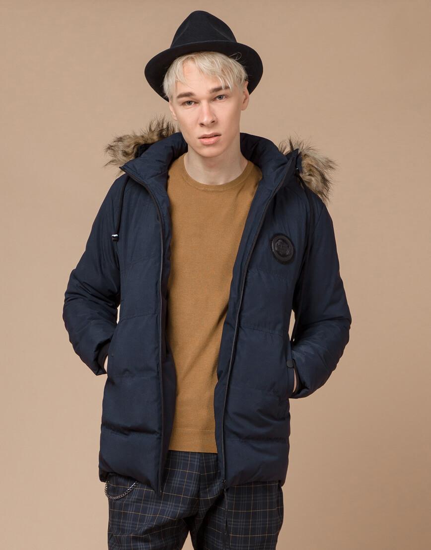 Синяя куртка зимняя удобного фасона модель 25550 фото 1