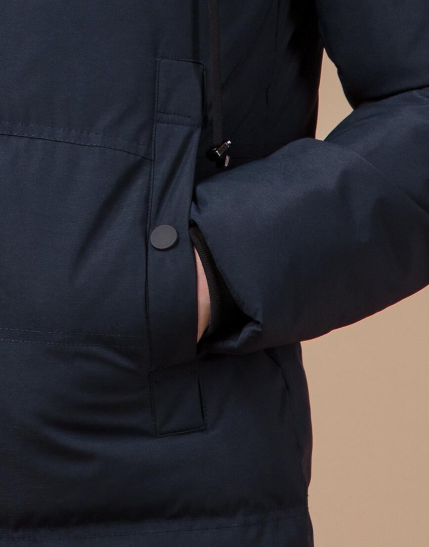 Синяя куртка зимняя удобного фасона модель 25550 фото 6