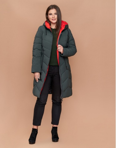 Куртка женская большого размера стильная серо-зеленая модель 25695