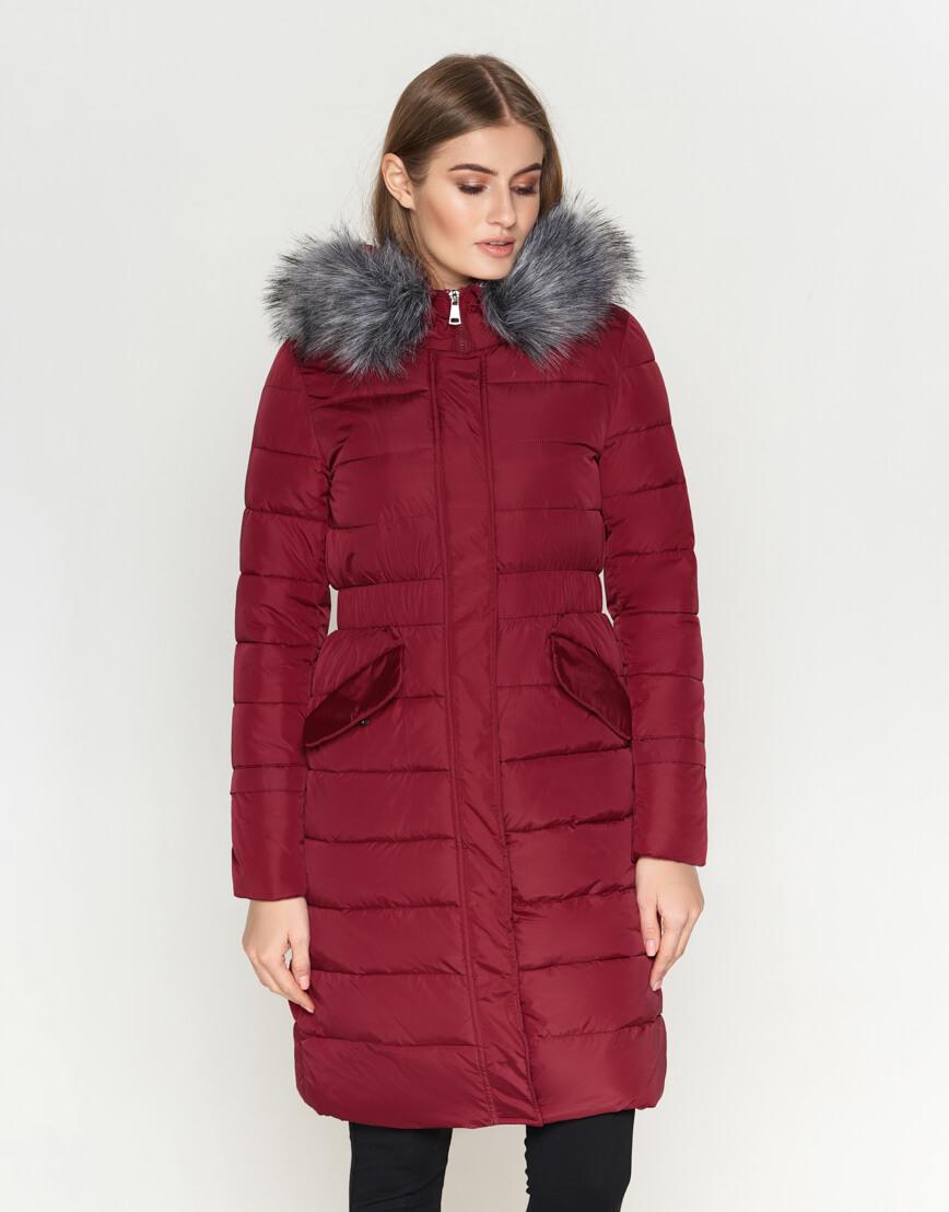 Трендовая женская куртка бордовая модель 8606 фото 3