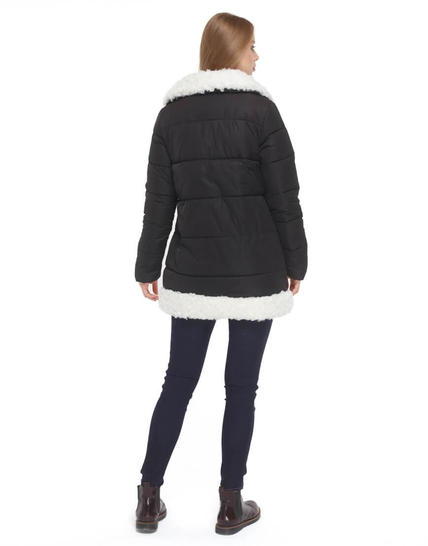 Женская черная куртка зимняя модель 5153 фото 4