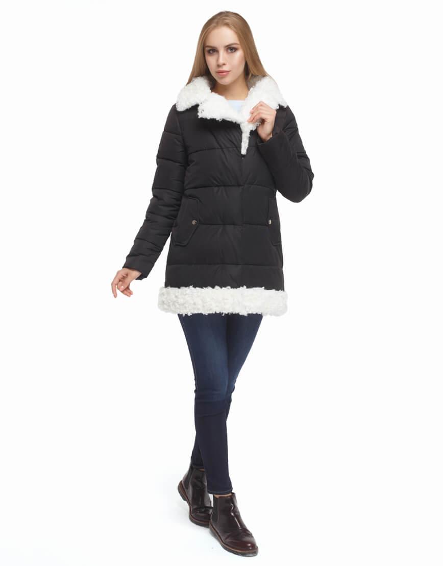 Женская черная куртка зимняя модель 5153 фото 3