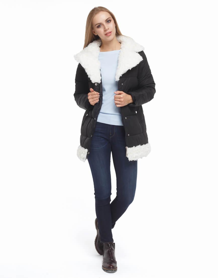Женская черная куртка зимняя модель 5153 фото 2