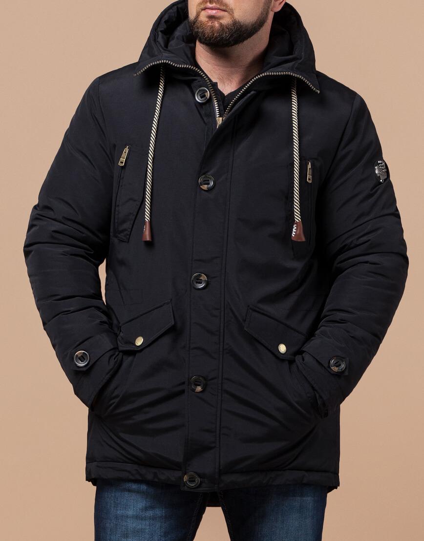 Черная парка с капюшоном зимняя модель 45950 фото 2