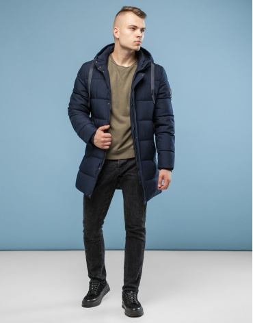 Куртка темно-синяя трендовая модель 6006 оптом