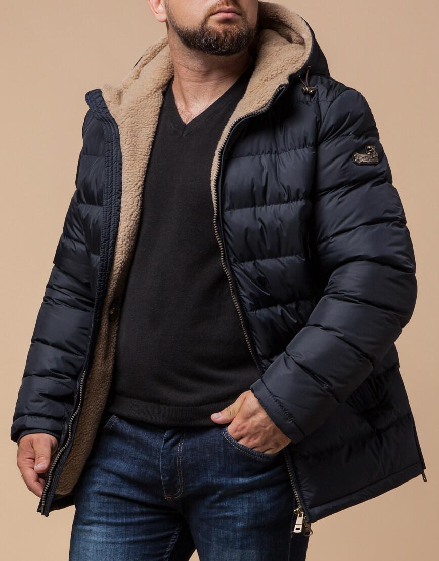 Темно-синяя куртка на молнии модель 25285 фото 2