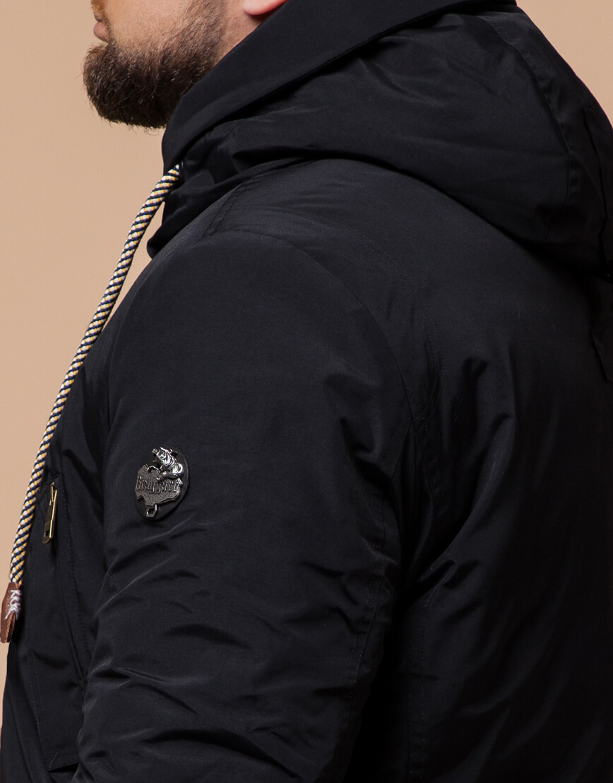 Черная парка с капюшоном зимняя модель 45950 фото 6