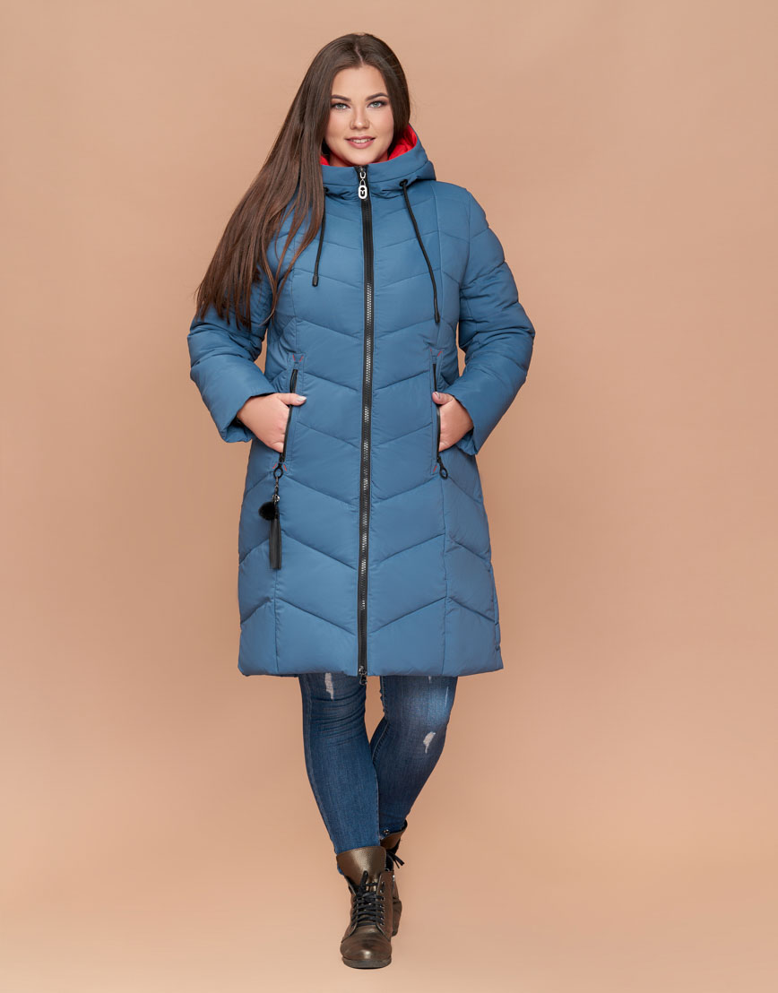 Фирменная утепленная куртка женская темно-голубая модель 25695
