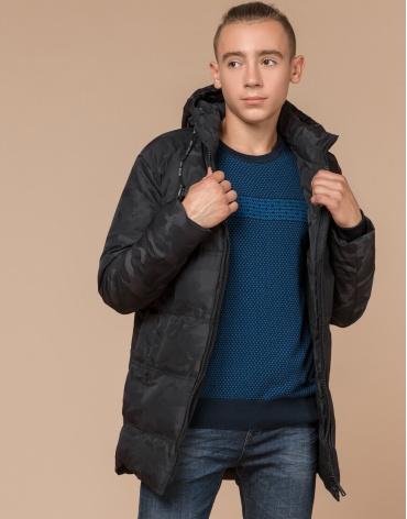 Дизайнерская черная куртка с мехом молодежная модель 25060