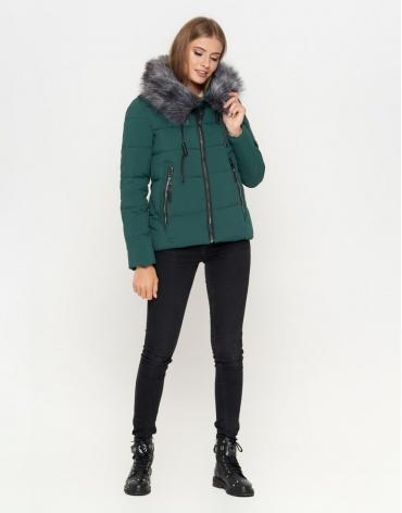 Женская куртка стильного дизайна цвет зеленый модель 6529