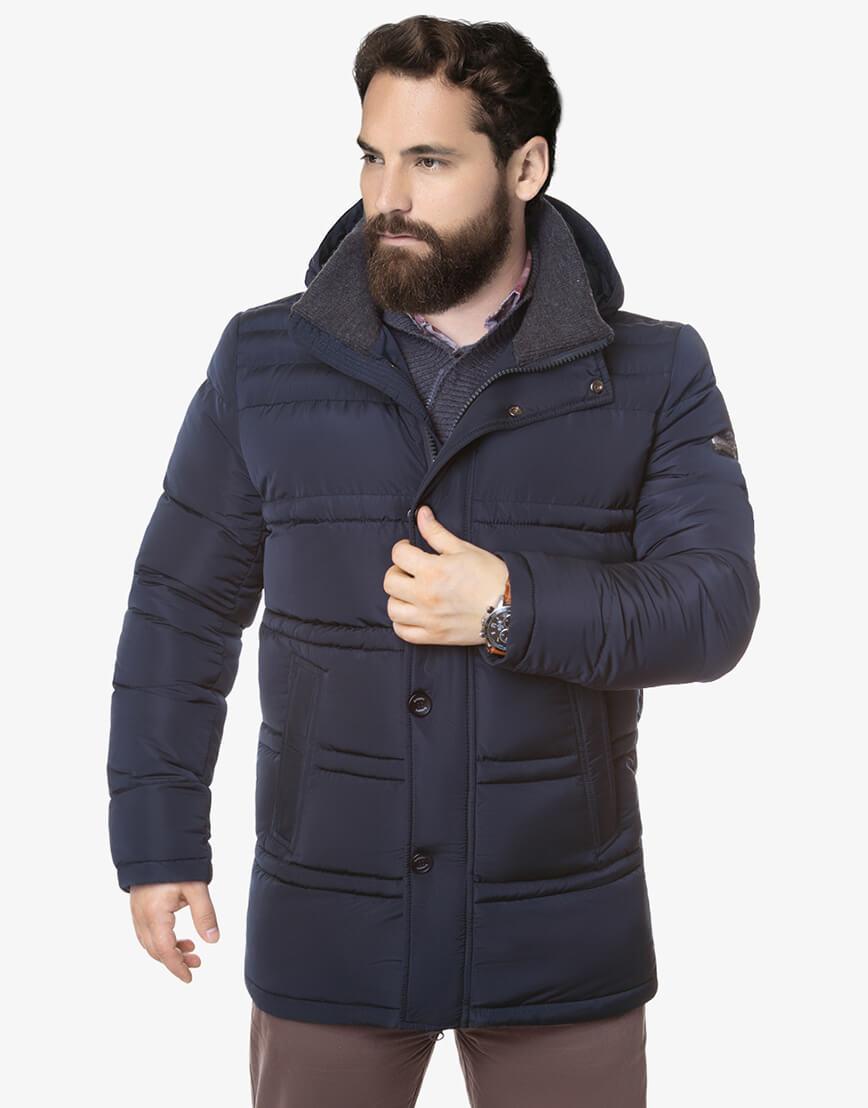Зимняя мужская куртка большого размера темно-синяя модель 2465