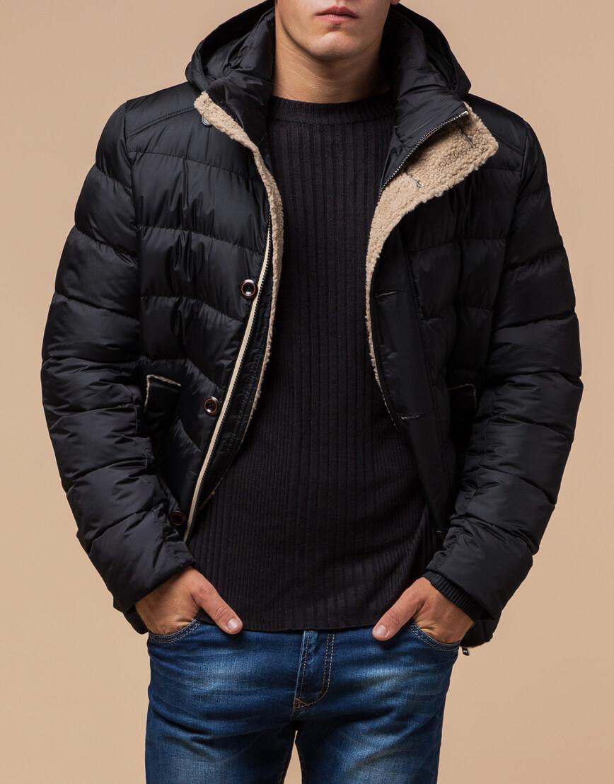 Черная качественная куртка с капюшоном модель 20849 фото 2