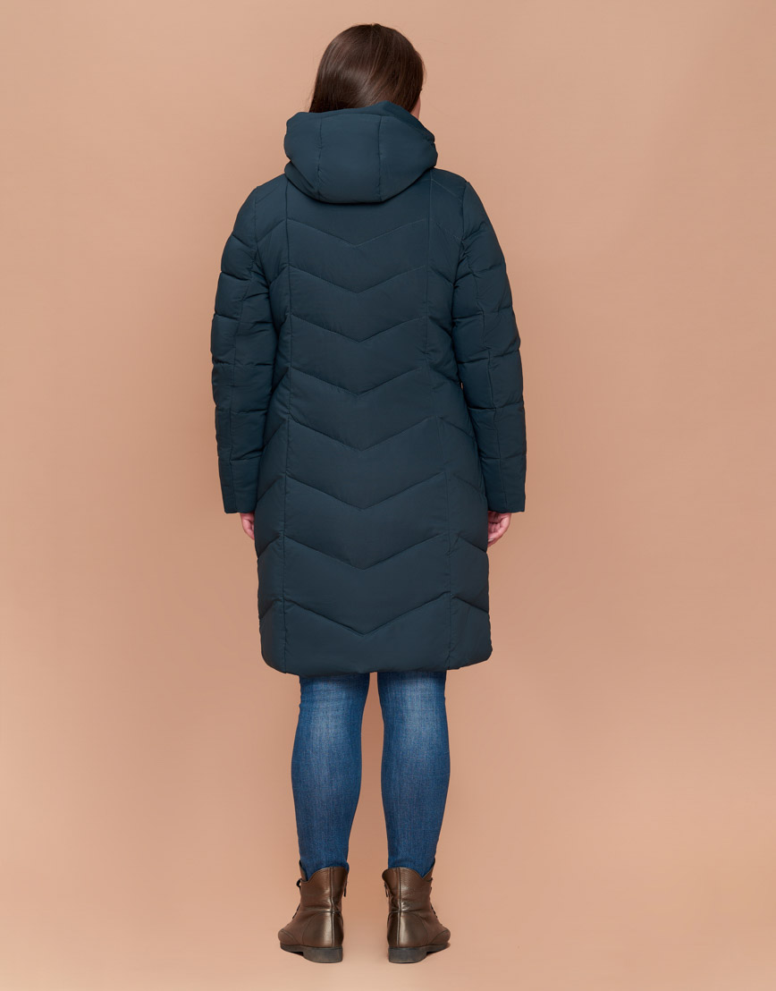 Модная куртка женская большого размера темно-зеленая модель 25695
