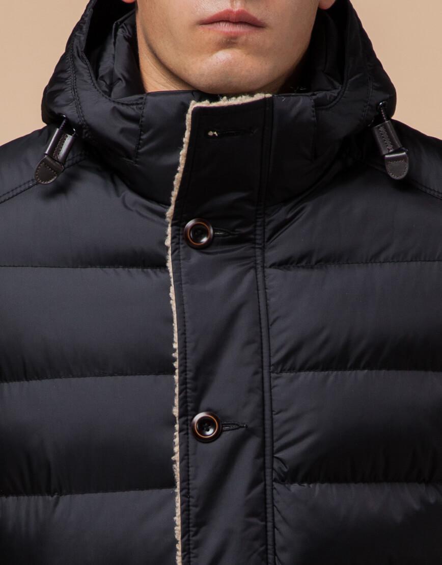 Черная качественная куртка с капюшоном модель 20849 фото 4