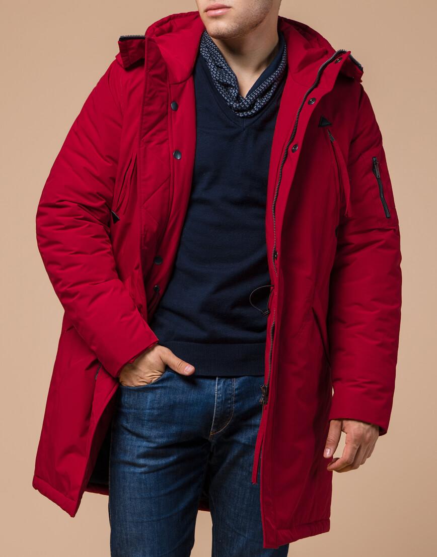 Мужская парка красная на зиму модель 23675 оптом фото 1