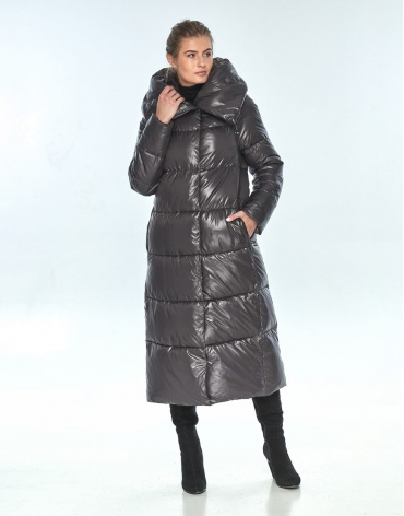 Брендовая женская куртка Ajento зимняя серая 21550 фото 1