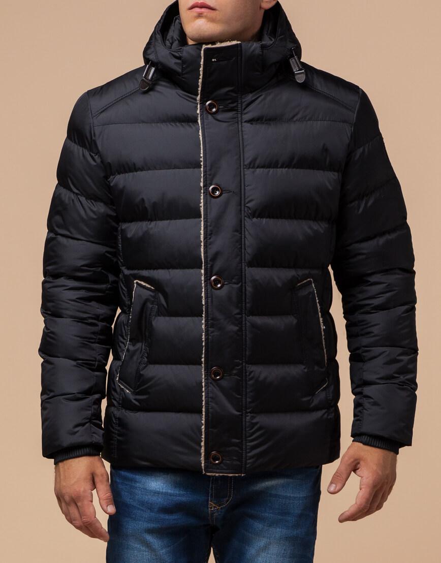 Черная качественная куртка с капюшоном модель 20849 фото 1