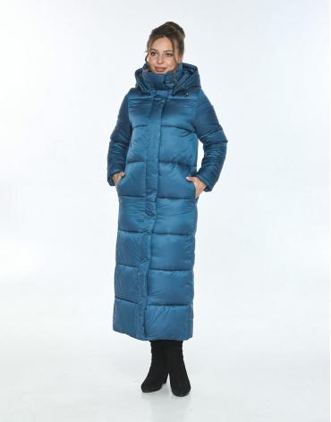 Куртка длинная на зиму женская Ajento аквамариновая 21972 фото 1