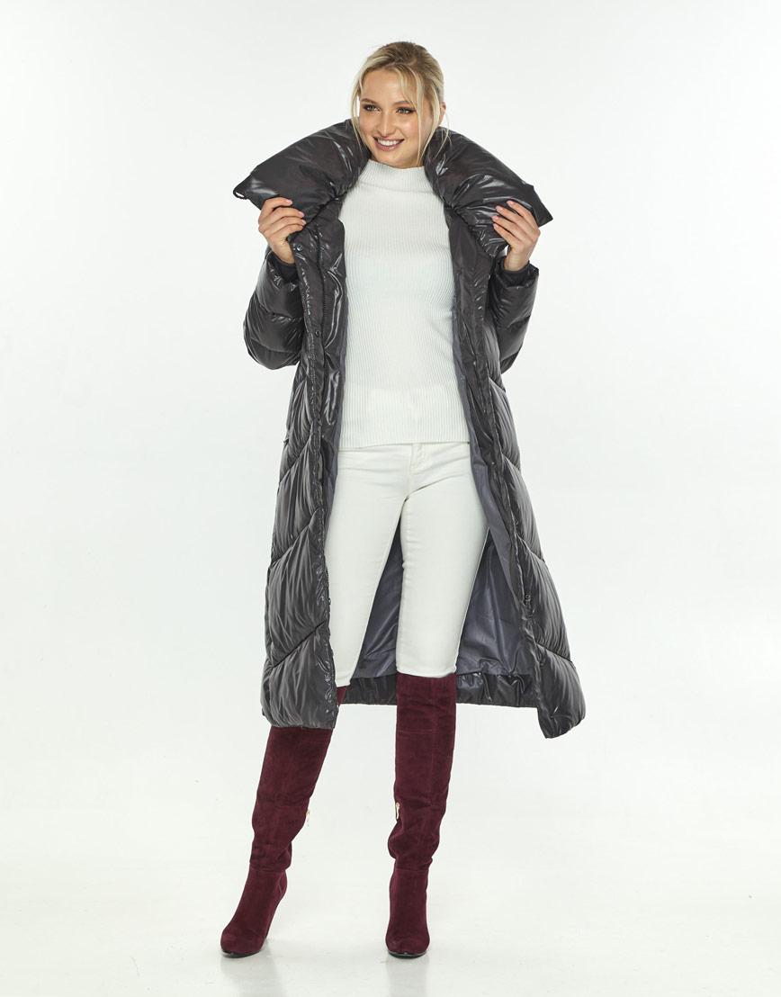 Фирменная куртка зимняя женская Kiro Tokao серая 60035 фото 2