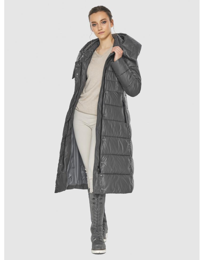 Серая оригинальная длинная женская курточка Wild Club 586-25 фото 6