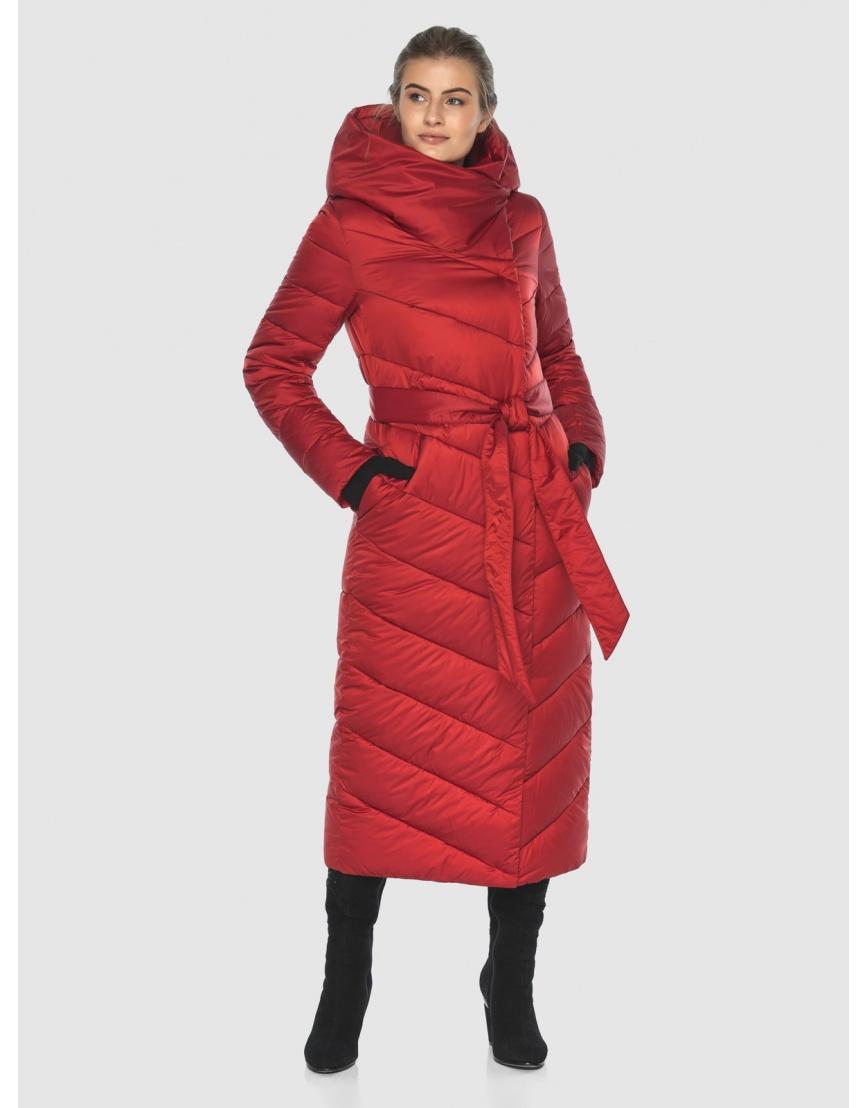 Куртка Ajento длинная женская красного цвета 23046 фото 1