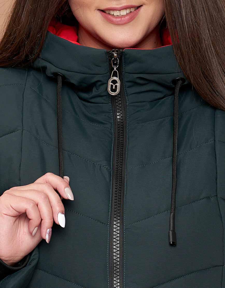Темно-зеленая куртка женская большого размера оригинальная модель 25695