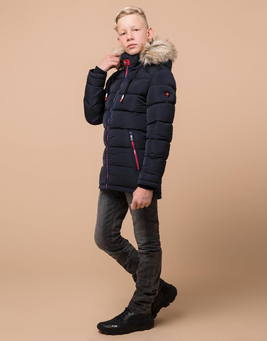 Темно-синяя детская куртка качественная модель 68255 оптом
