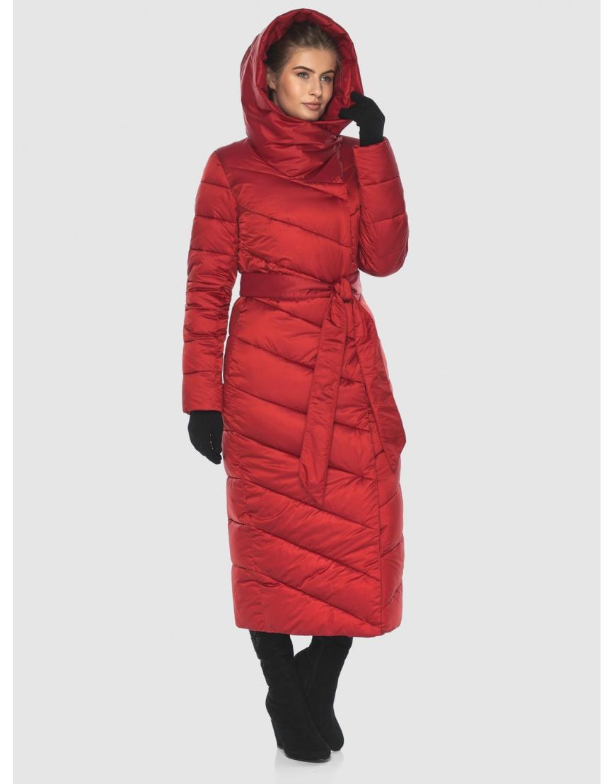 Куртка Ajento длинная женская красного цвета 23046 фото 5