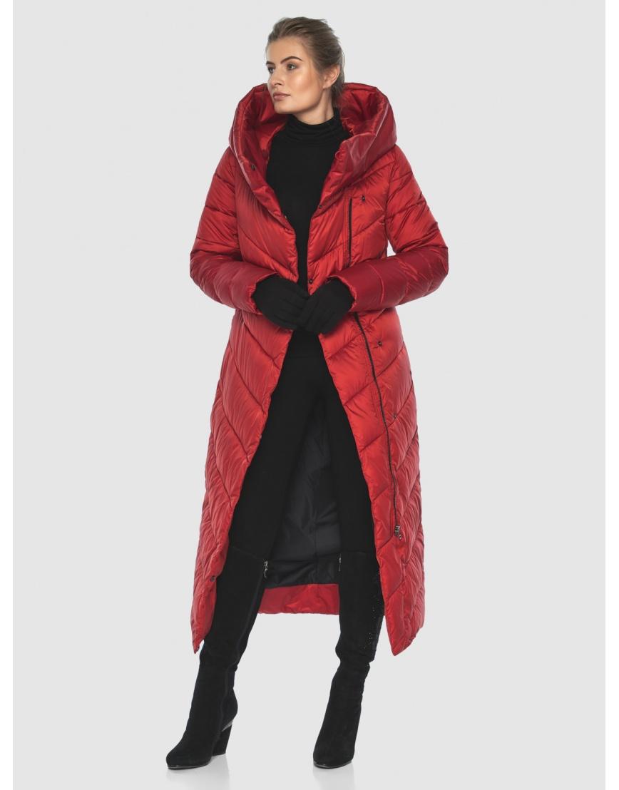 Куртка Ajento длинная женская красного цвета 23046 фото 6