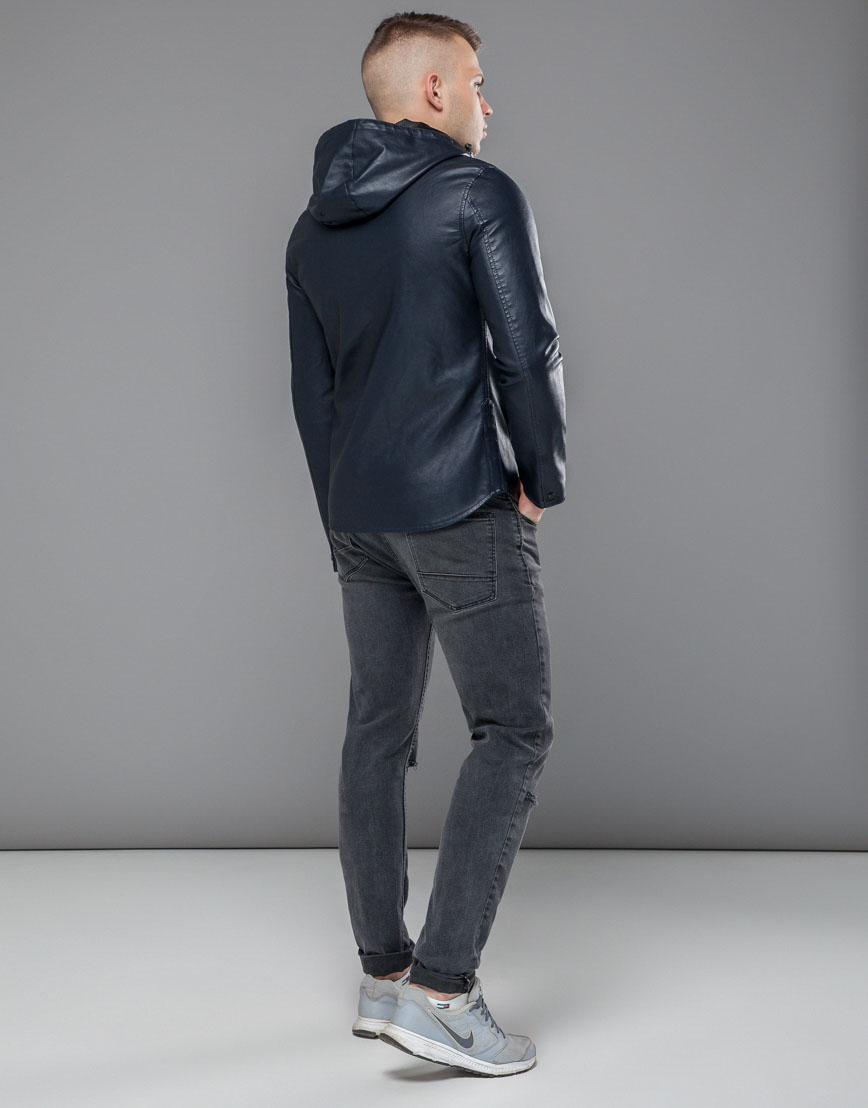 Темно-синяя короткая куртка модель 15353 фото 4
