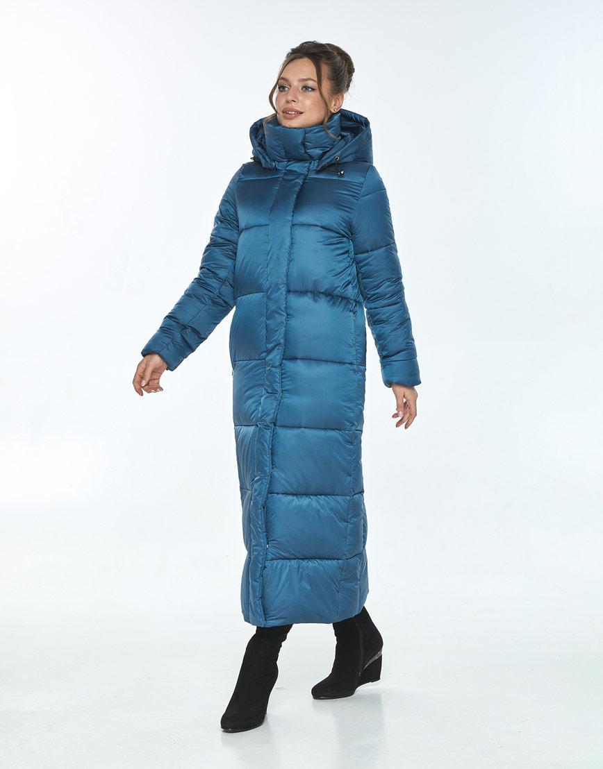 Куртка длинная на зиму женская Ajento аквамариновая 21972 фото 2