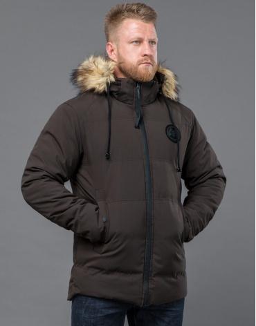 Куртка на зиму практичная цвет кофе модель 55825 оптом