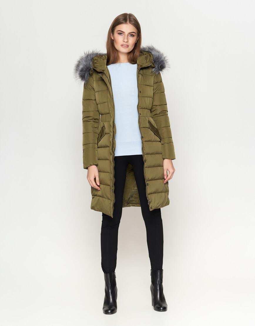 Высококачественная женская куртка цвета хаки модель 8606 фото 2