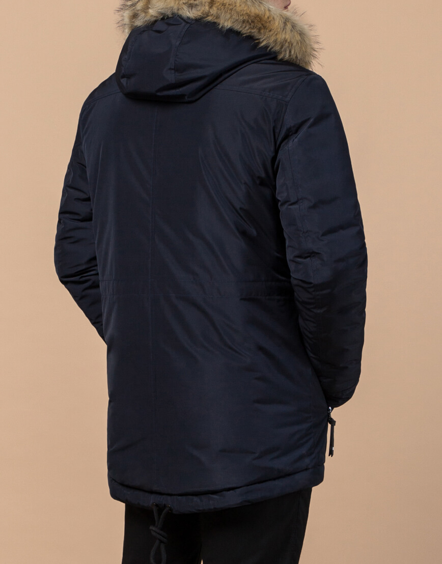 Синяя парка модная зимняя модель 31720