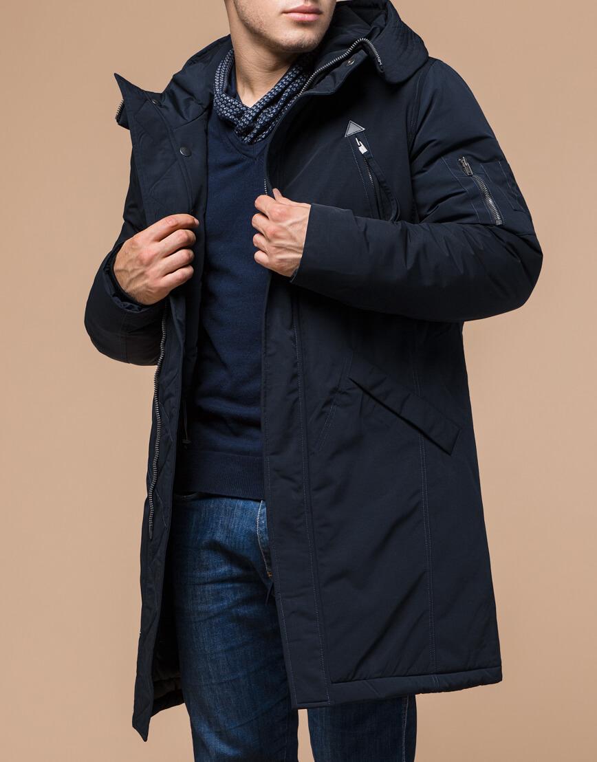Зимняя темно-синяя парка мужская модель 23675 оптом фото 2
