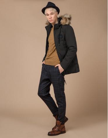 Подростковая куртка цвета кофе с опушкой модель 25550