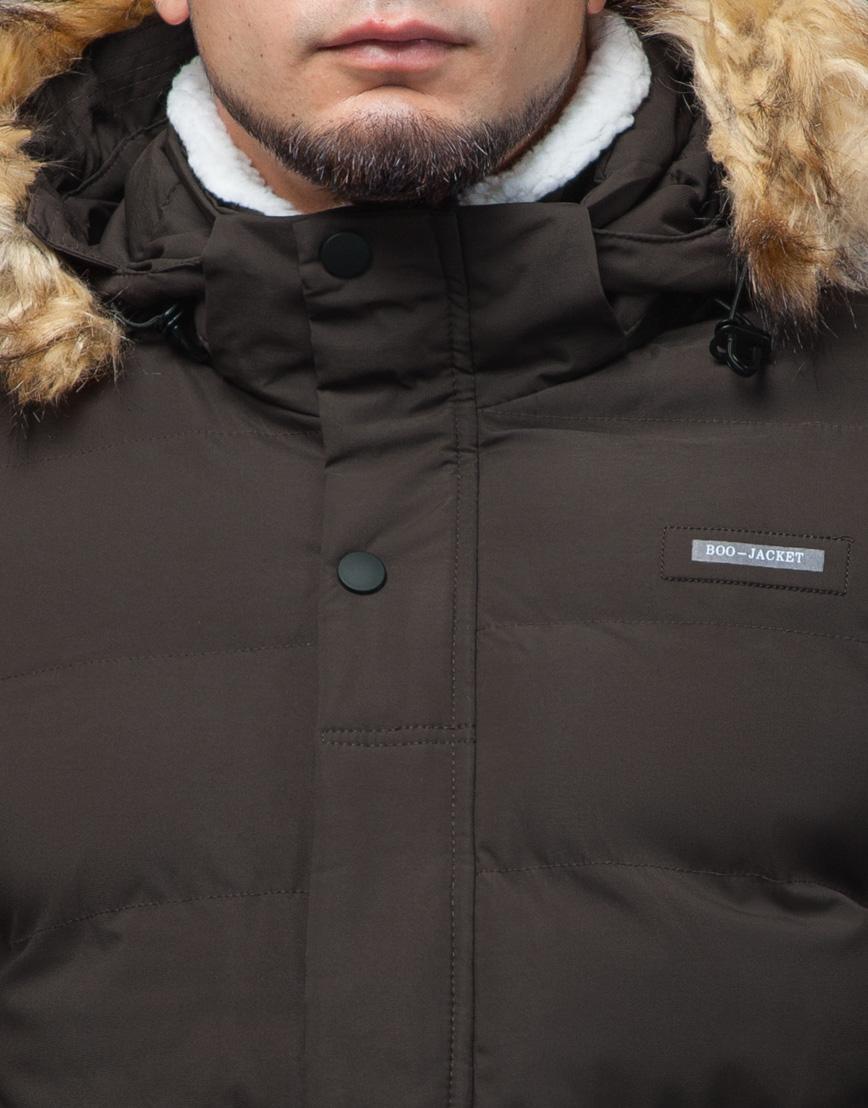 Куртка цвета кофе молодежная с воротником модель 25780 фото 5