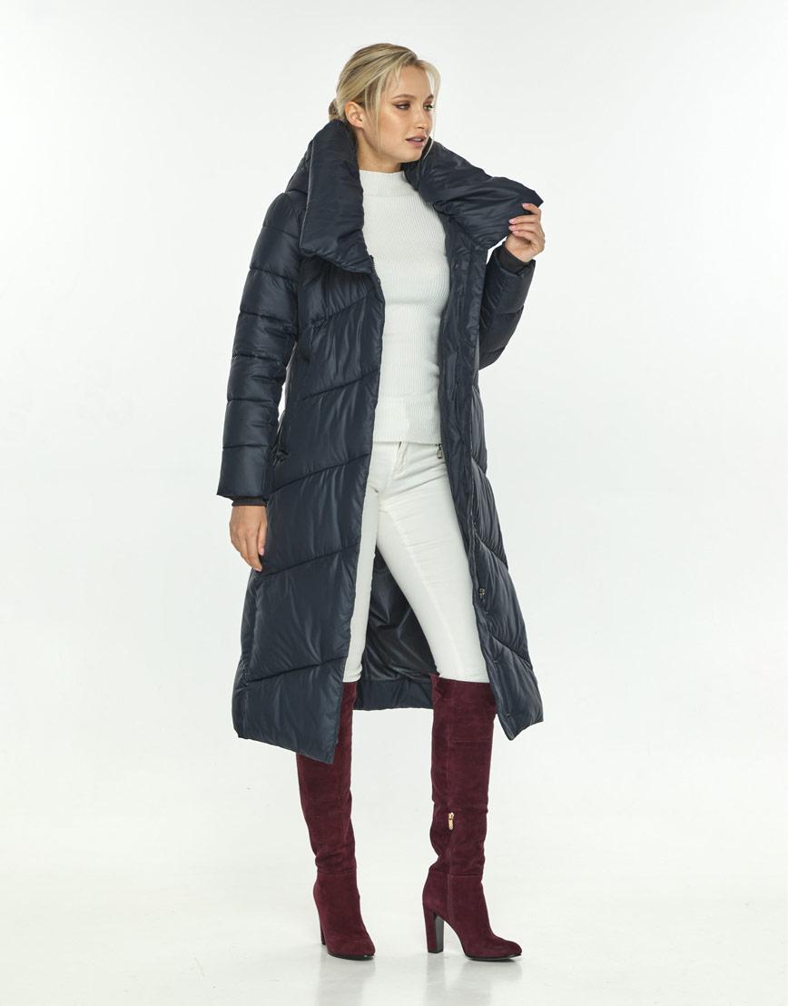 Куртка зимняя женская длинная синяя Kiro Tokao 60035 фото 2