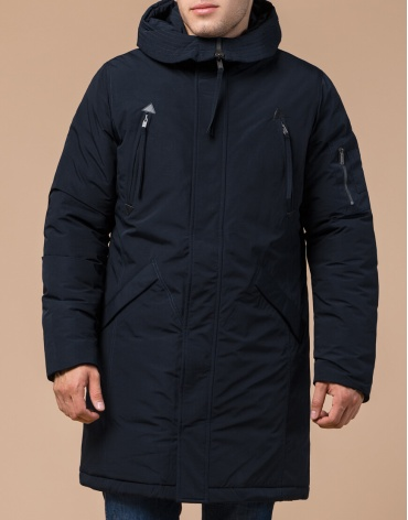Зимняя темно-синяя парка мужская модель 23675 оптом