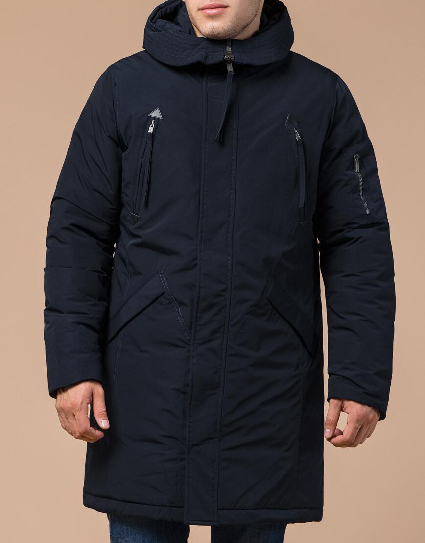 Зимняя темно-синяя парка мужская модель 23675 оптом фото 1