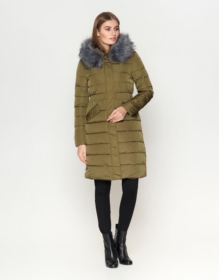 Высококачественная женская куртка цвета хаки модель 8606 фото 3